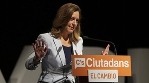 Carina Mejías, líder del grupo municipal de Ciutadans en Barcelona, en un acto del partido.