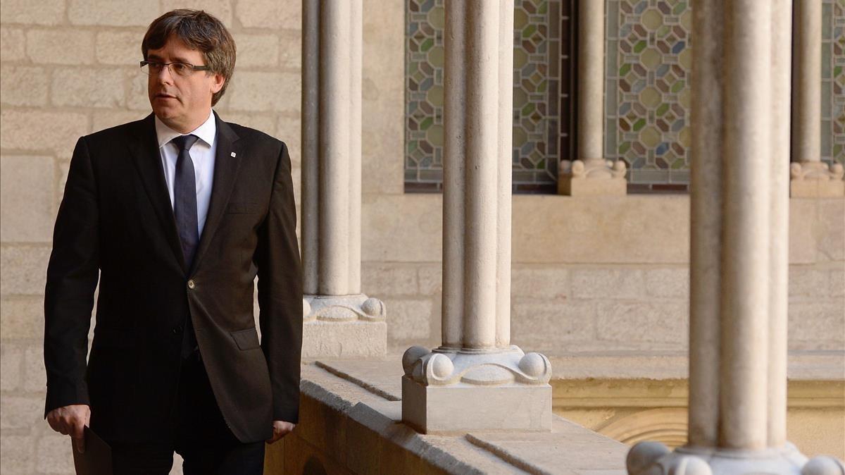 Carles Puigdemont tras su comparecencia.