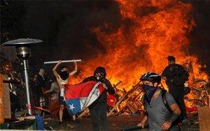 Protestas violentas en Chile.