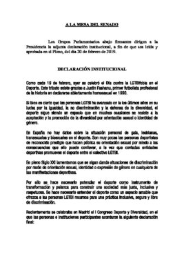 Declaración institucional en el Senado