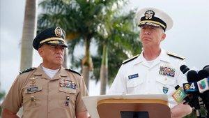 El almirante estadounidenseCraigFaller junto al general colombiano Luís Navarro Jiménez, hoy en Florida.