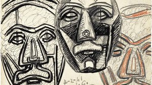 Dibujo Estudio de máscaras (1941), de Juli González