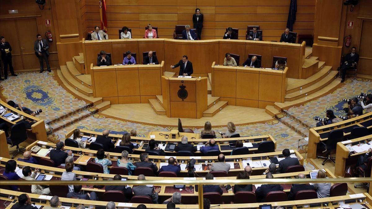 Hemiciclo del Senado durante una intervención de Mariano Rajoy en el 2013