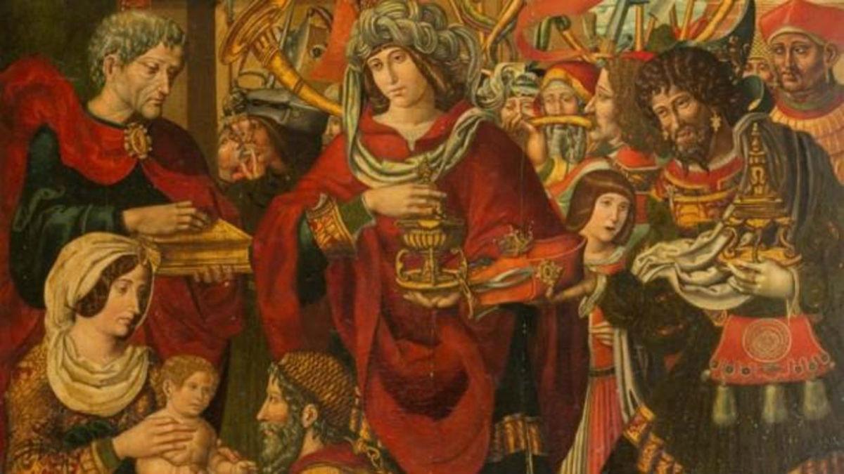 Fragmento de La Adoracion de los Reyes Magos, una de las tablas del retablo mayor del monasterio de Sijena.