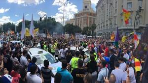 Manifestación de taxistas de diversas ciudades en Madrid durante la última huelga contra las VTC de Uber y Cabify.