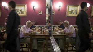 La hora del almuerzo en el piso superior del Xalana.