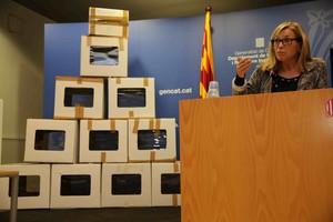 Joana Ortega, en la rueda de prensa para comunicar los datos del 9-N.