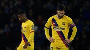 Leo Messi, pensativo, tras recibir el Barça el gol.