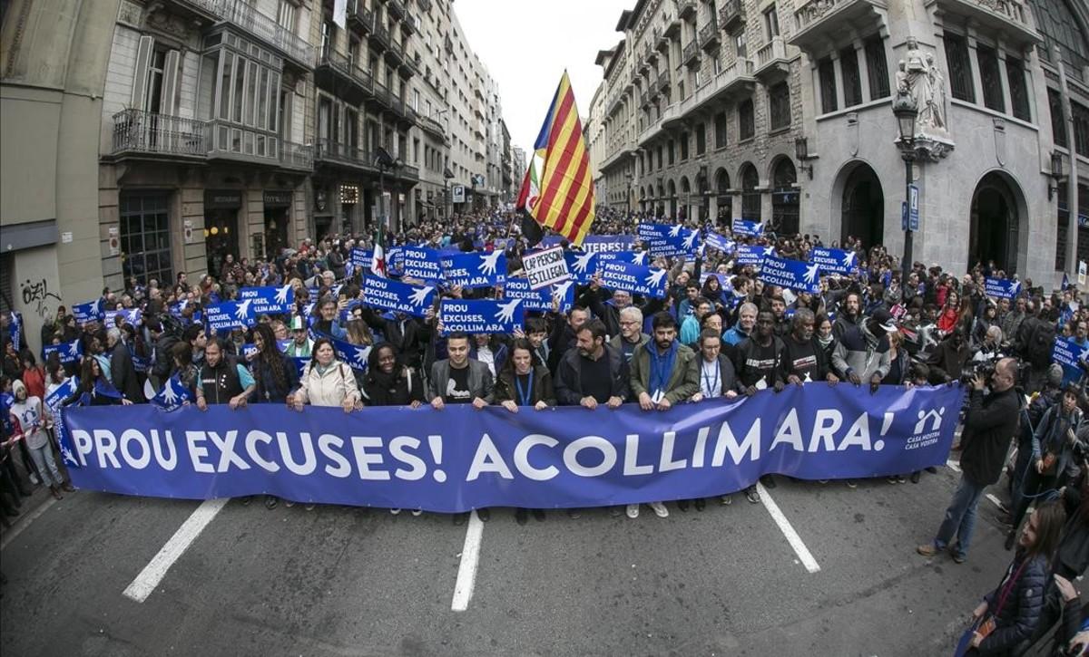 Manifestacion Casa meva, Casa vostra en Barcelona por los refugiados.