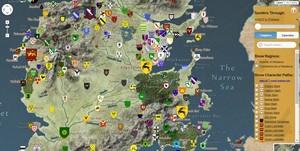 Recreación de Poniente, de Juego de tronos, en un mapa interactivo que simula Google Maps.