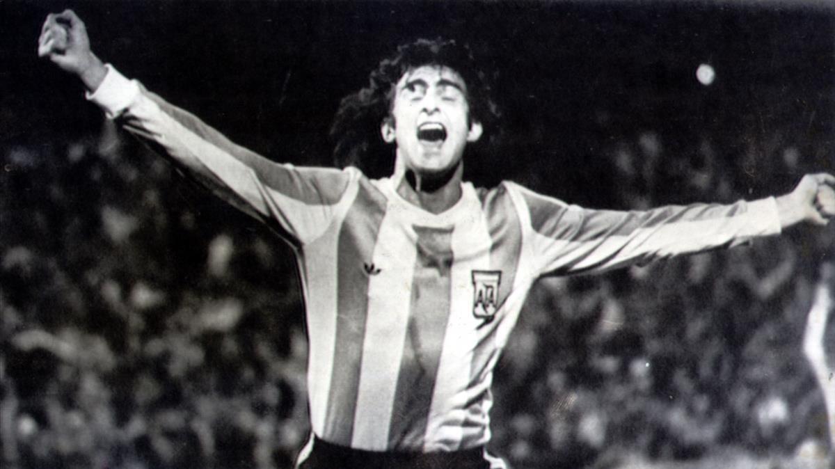 Mario Kempes, con la selección argentina.