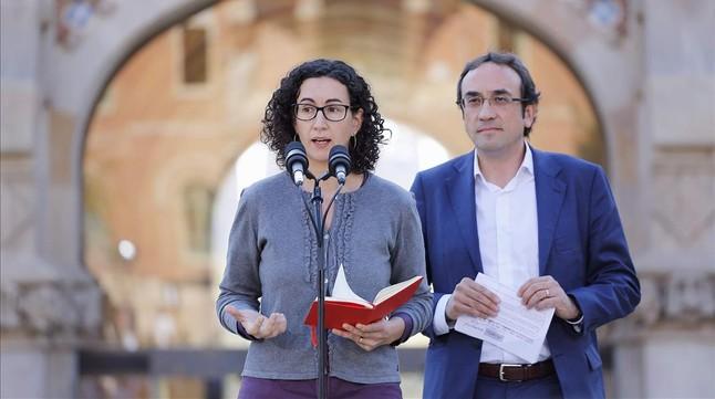 Marta Rovira y Josep Rull, este viernes, en la presentación de las listas de CDC y ERC para las generales.