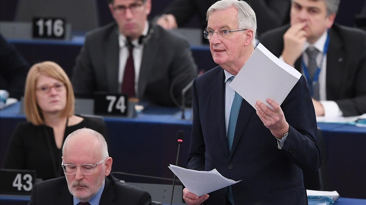El negociador europeo del 'brexit', Michel Barnier, en su comparecencia ante el Parlamento Europeo, en Estrasburgo.