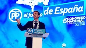 Pablo Casado, durante su discurso para defender su proyecto antes de que voten los compromisarios del PP