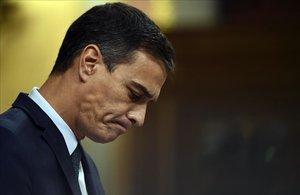 Pedro Sánchez, en la últimajornada del debate de investidura.