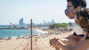 La playa Llevant de Barcelona, el pasado 17 de julio.