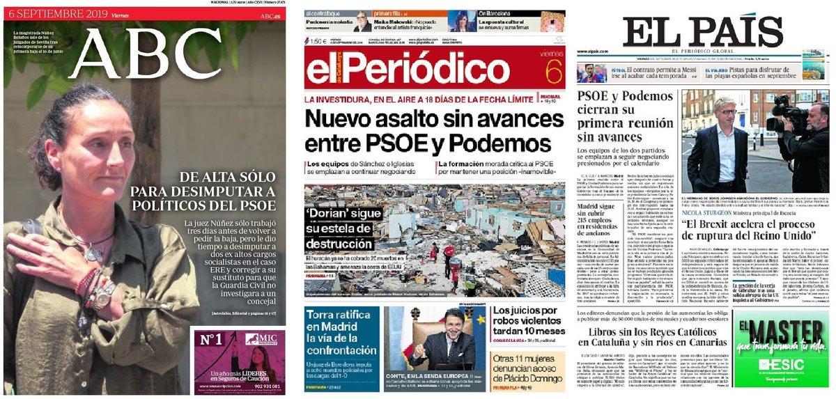 Prensa de hoy: Las portadas de los periódicos del viernes 6 de septiembre del 2019