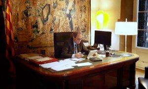 El 'president' Quim Torra, en su despacho, el pasado 17 de marzo.