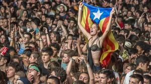 Público del Canet Rock durante el festival en el Pla den Sala.