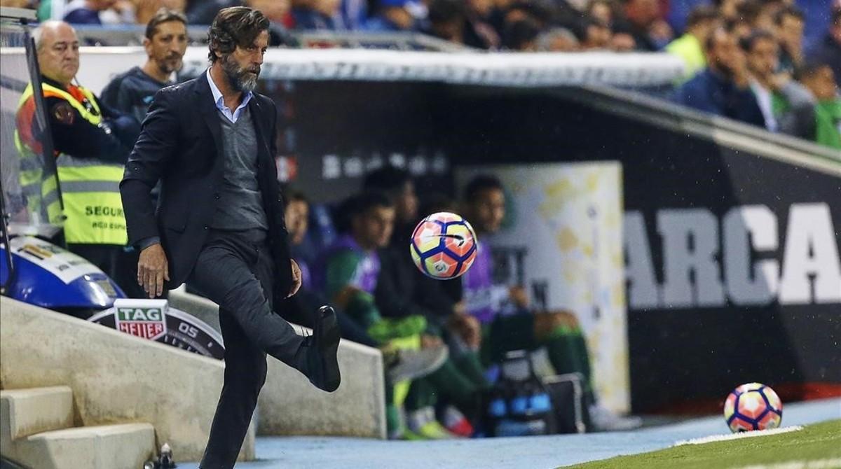 Quique Sánchez, en el duelo del Espanyol contra el Betis en Cornellà.
