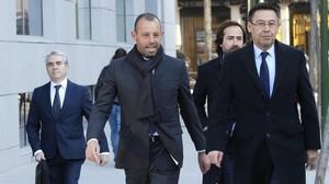 Rosell y Bartomeu, en una visita a la Audiencia Nacional para declarar por el caso Neymar.