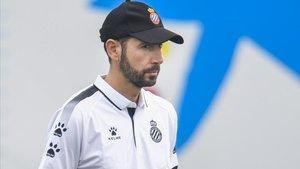 Pablo Machín, en un entrenamiento del Espanyol.