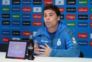 Rubi, en una rueda de prensa del Espanyol.