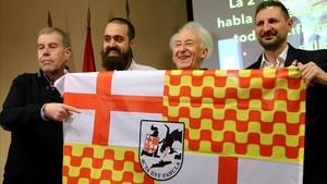 Tomás Guasch (izquierda), Jaume Vives, Albert Boadella y Miguel Martínez, en la presentación de Tabarnia en Madrid.