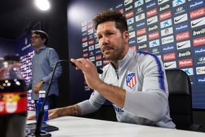 Diego Simeone, entrenador del Atlético de Madrid, en rueda de prensa este viernes.