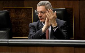 Ruiz Gallardon durante un pleno en el Congreso de los Diputados
