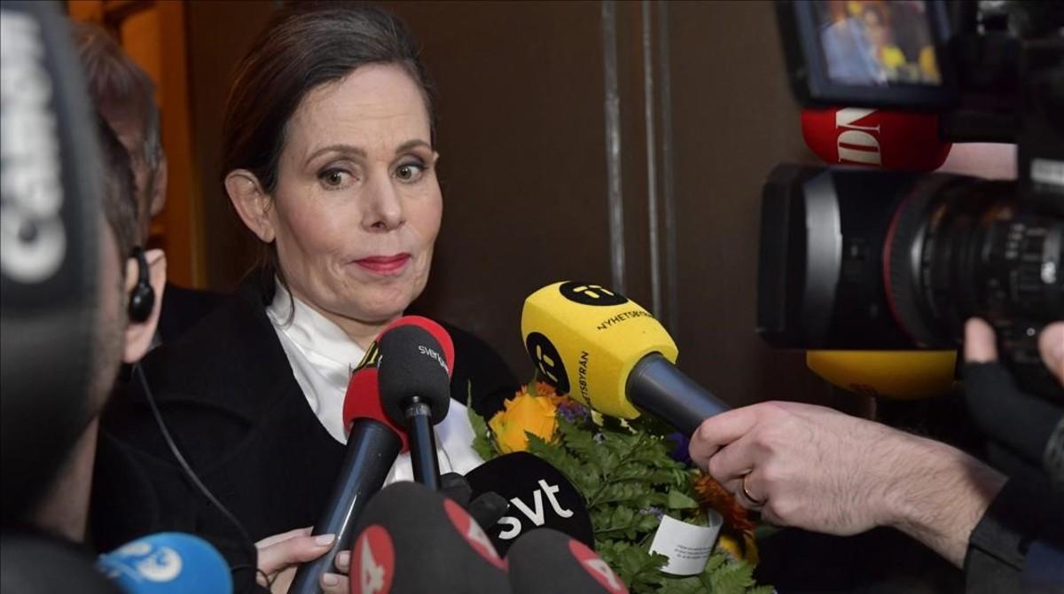 La exsecretaria de la Academia Sueca Sara Danius, tras dejar el cargo por los escándalos de corrupción y abusos.