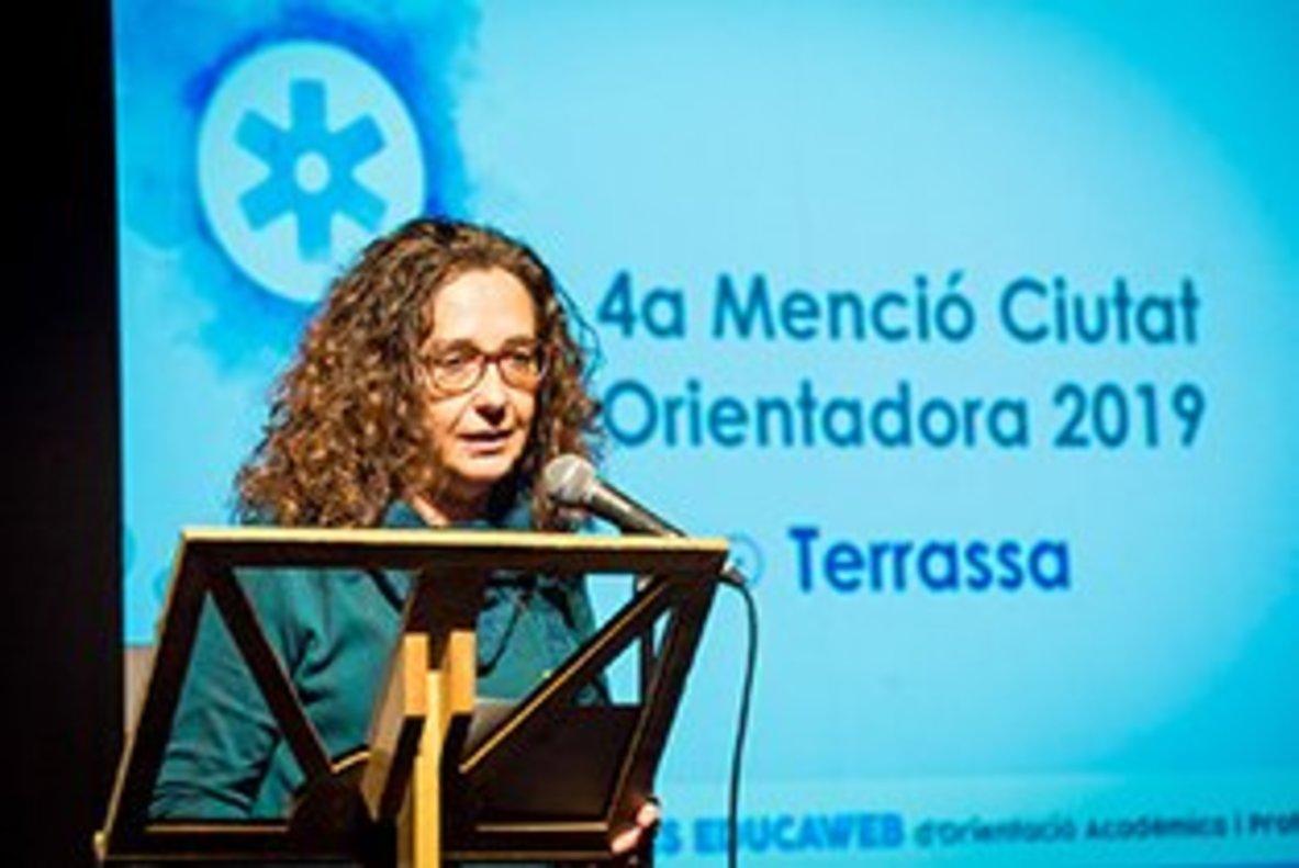 Teresa Ciurana, concejala de Educación del Ayuntamiento de Terrassa, en la entrega de los Premios Educaweb de Orientación Académica y Profesional 2019.