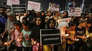 Una protestapor la violación y asesinato en abril de una niña de ocho años.