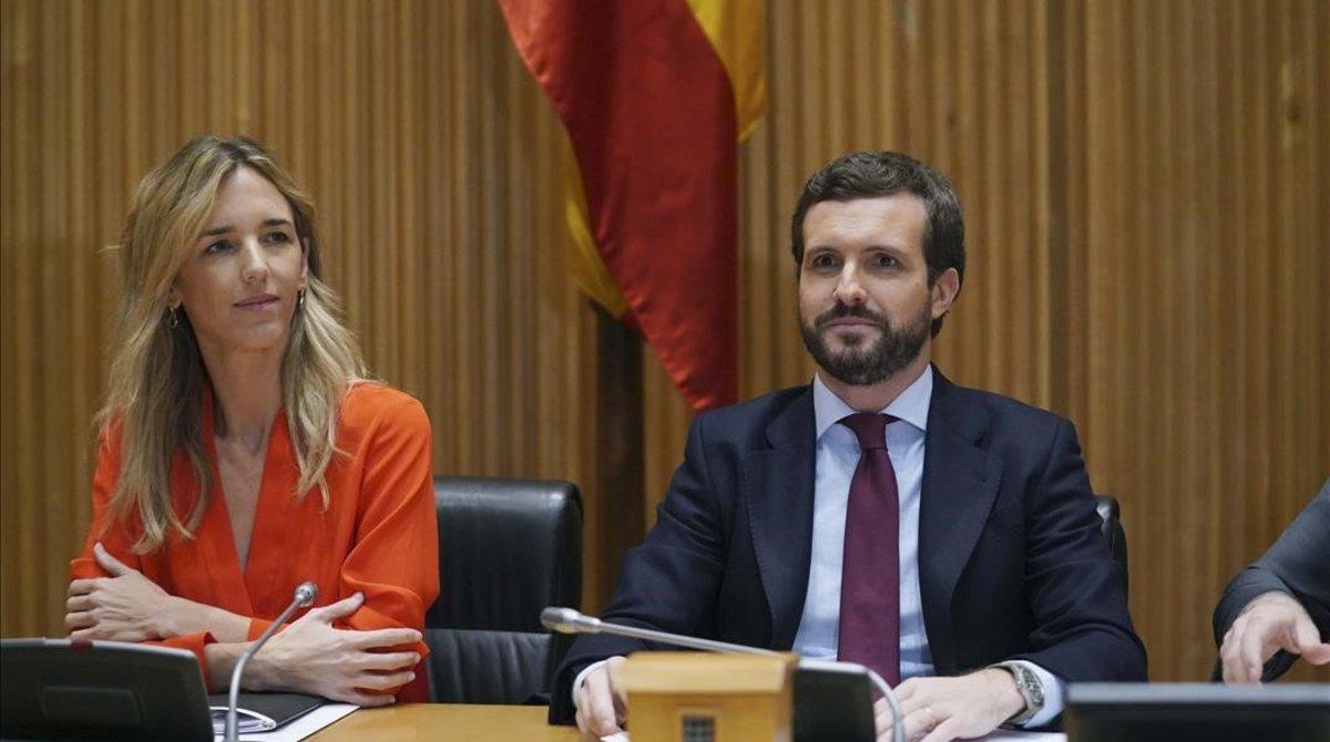 El presidente del PP, Pablo Casado, y la portavoz parlamentaria en el Congreso, Cayetana Álvarez de Toledo