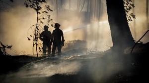 Unos bomberos tratan de controlar el fuego cerca del volcan Vesubio.