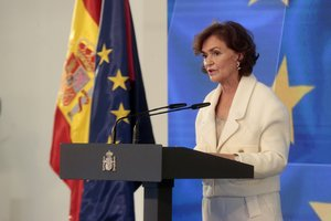 La vicepresidenta primera, Carmen Calvo, durante la presentación del plan de recuperación, este 7 de octubre en la Moncloa.