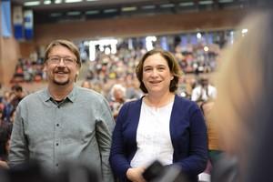 Xavier Domènech y Ada Colau, en la asamblea fundacional de la confluencia de los comuns.
