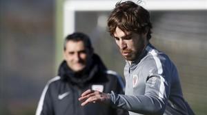 Yeray Álvarez en una sesión de entrenamiento del Athletic Club