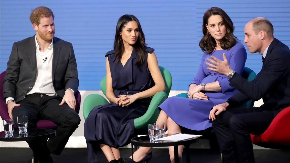 Enrique, Meghan, Kate y Guillermo, en una imagen de febrero pasado.
