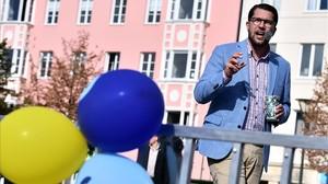 Jimmie Akesson, líder del partido ultranacionalista y xenófobo Demócratas Suecos, en un mitin en Malmoe, el 8 de septiembre del 2018.
