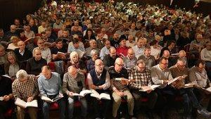 Uno de los ensayos preparatorios de El Mesíasrealizados este otoño por el coro amateur de la Associació Messies Participatiu.