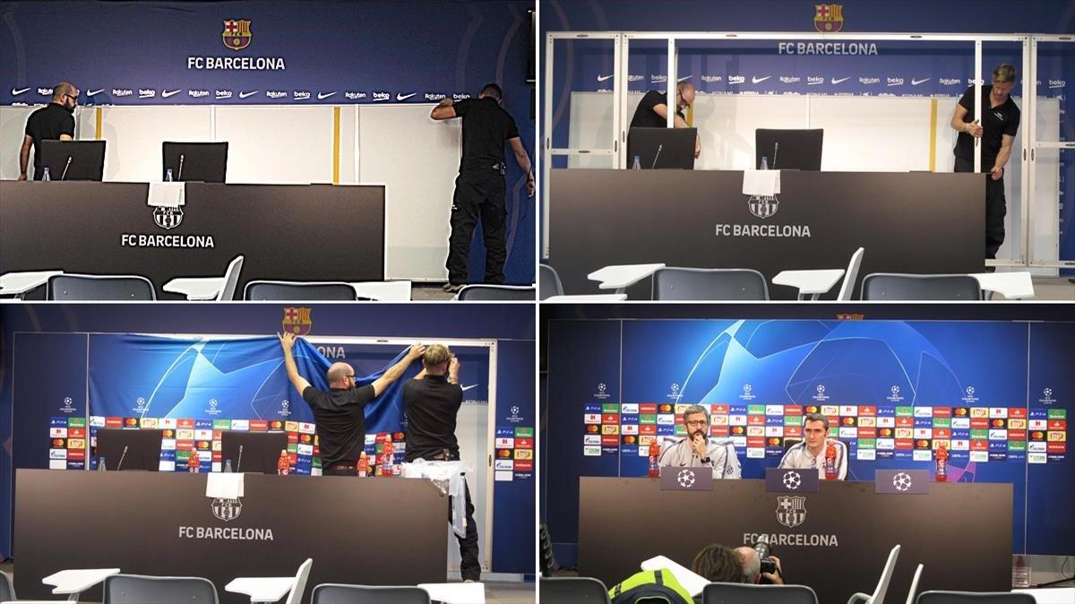 Cambio de decorado en la sala de prensa del Camp Nou hasta la rueda de prensa con Ernesto Valverde en la víspera del duelo Champions con el Tottenham.