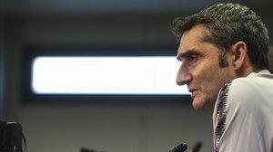 Ernesto Valverde, en la rueda de prensa.