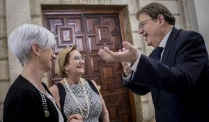Puig habla, tras la toma de posesion de la nueva fiscal del TSJCV, con la propia Teresa Gisbert y la Fiscal General del Estado, María José Segarra