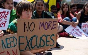 Protesta infantil en Nueva Delhi en el marco de los Fridays for Future, en marzo de este año.