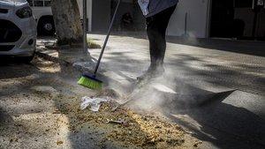 El polen de los plataneros en la calle Bolívia del Poblenou, este martes.