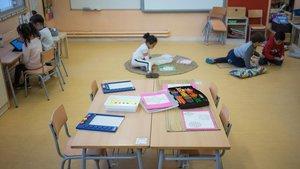 Una de las clases de infantil de la escuela Antoni Botey, en Badalona.