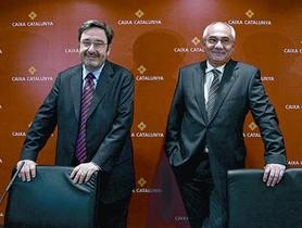 Narcís Serra i Adolf Todó, el febrer del 2009, en la presentació de resultats de Caixa Catalunya.