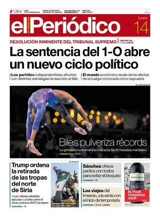 La portada d'EL PERIÓDICO del 14 d'octubre del 2019