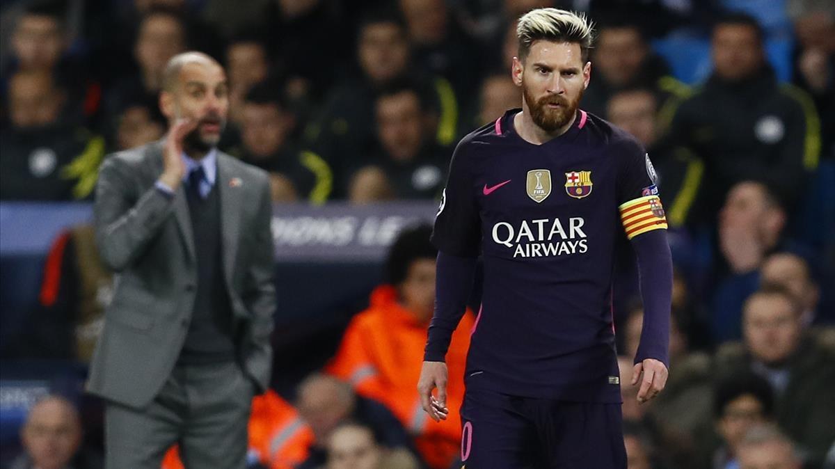 Guardiola, entrenador del City, y Messi, en un duelo de la Champions.